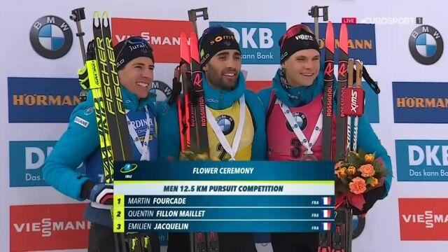 Fourcade na podium po ostatnim biegu w karierze