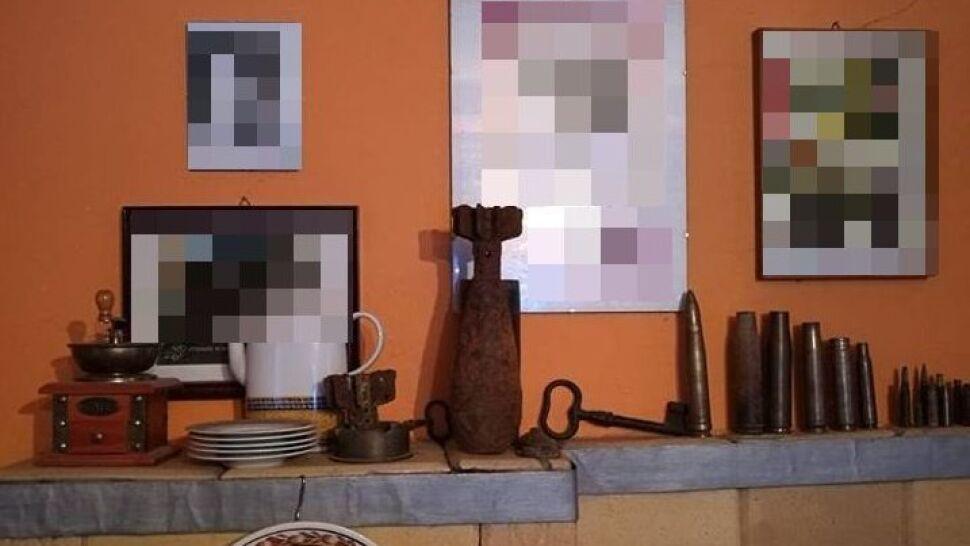 Niewybuch trzymał na kuchni kaflowej. Jako ozdobę