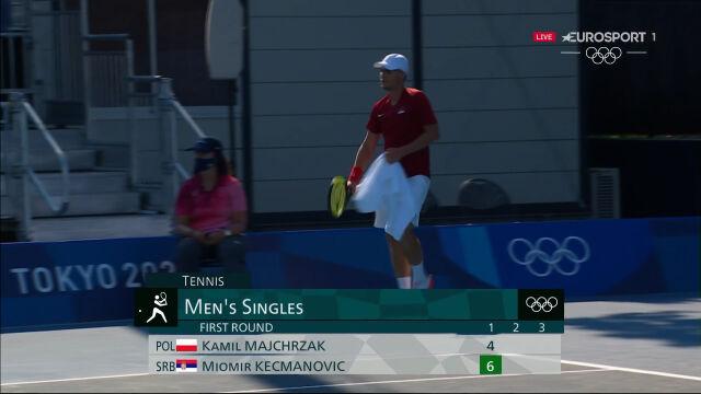 Tokio. Kecmanović wygrał 1. seta w starciu z Majchrzakiem w 1. rundzie turnieju tenisowego