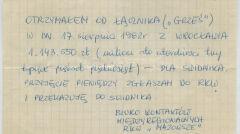 """Informacja zwrotna dla RKS z Mazowsza o otrzymaniu pieniędzy z akcji """"Świdnik"""""""