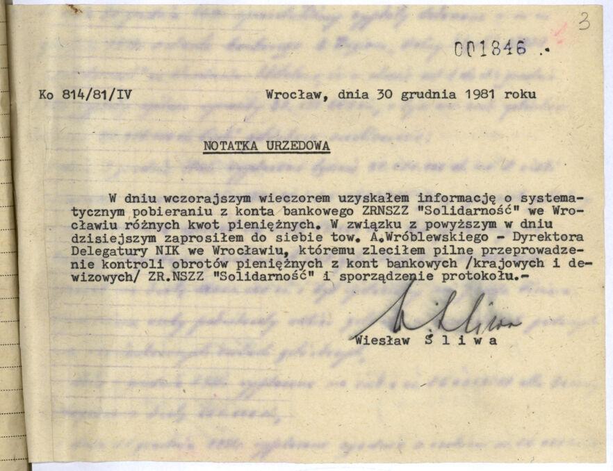 Notatka urzędowa z grudnia 1981 roku