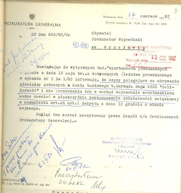 W czerwcu 1982 prokurator Henryk Pracki nie miał wątpliwości – ukrywanie 80 milionów można oceniać jako kontynuowanie działalności związkowej, zgodnie z dekretem o stanie wojennym, nielegalnej