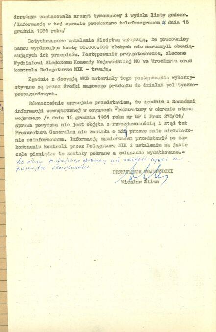 """7 stycznia 1982 roku prokurator wojewódzki we Wrocławiu Wiesław Śliwa poinformował prokurator generalnego Józefa Żytę o tym, że na koncie zdelegalizowanej dolnośląskiej """"S"""" nie ma 80 milionów złotych"""