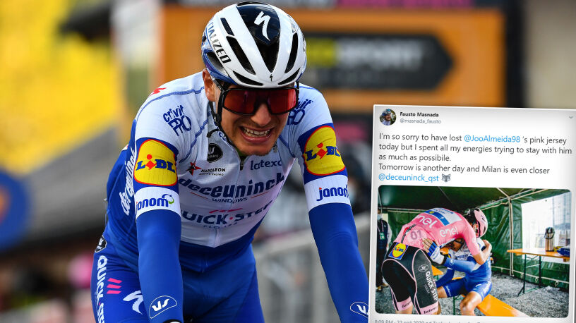 Uderzający obrazek z Giro. Przeprosił kolegę, że nie mógł zrobić nic więcej