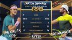 Skrót meczu Berrettini - Tsitsipas w finale turnieju Ultimate Tennis Showdown