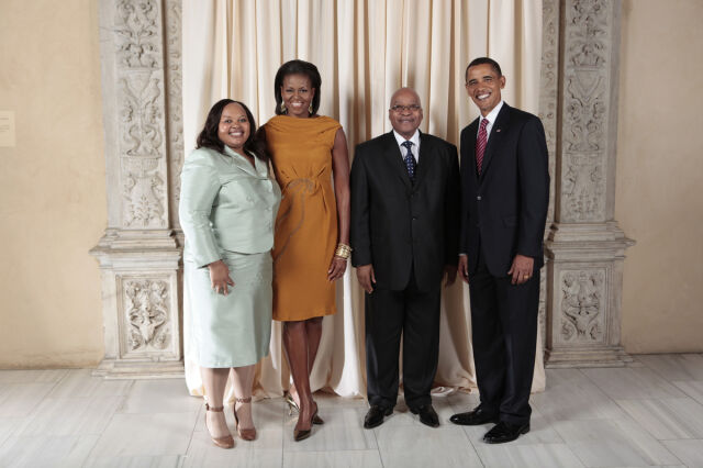 Prezydent RPA i cztery pierwsze damy