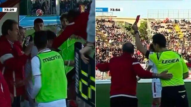 Trener wyrzucony z boiska po tym, jak dał po głowie swojemu piłkarzowi