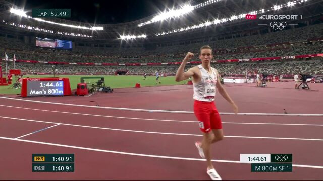 Tokio. Dobek pierwszy w biegu półfinałowym na 800 metrów