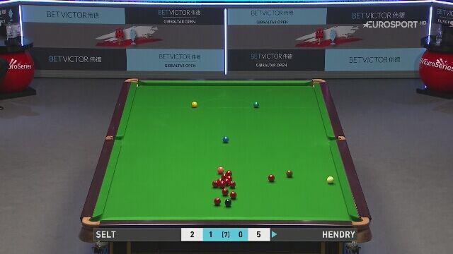Setka Stephena Hendry'ego w meczu 1. rundy Gibraltar Open