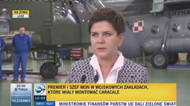 Całość konferencji prasowej premier i szefa MON w Wojskowych Zakładach Lotniczych nr 1 SA w Łodzi
