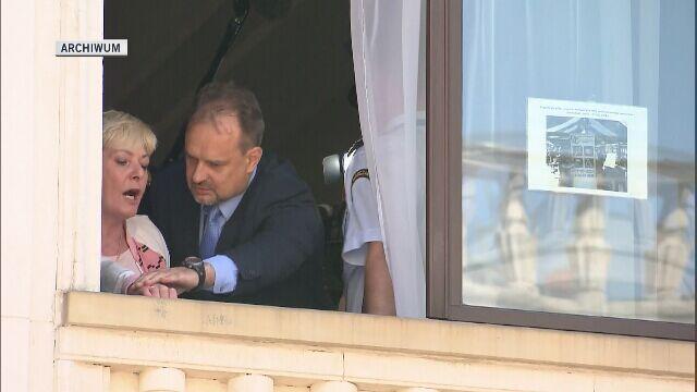Robert Pręgowski interweniuje w czasie protestu niepełnosprawnych w Sejmie, w maju 2018 roku