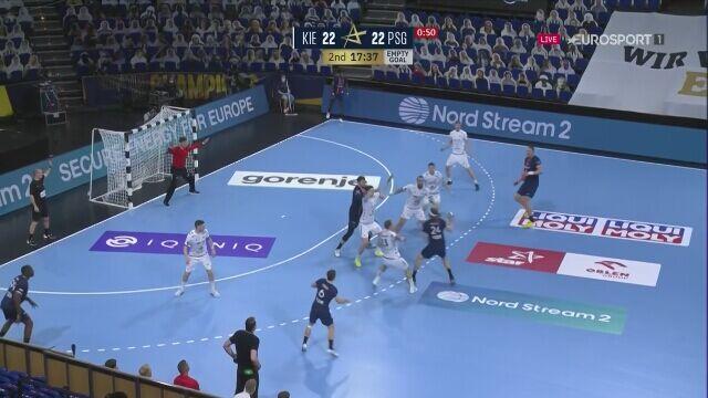 Obrona i gol Niklasa Landina w meczu THW - PSG w ćwierćfinale Ligi Mistrzów
