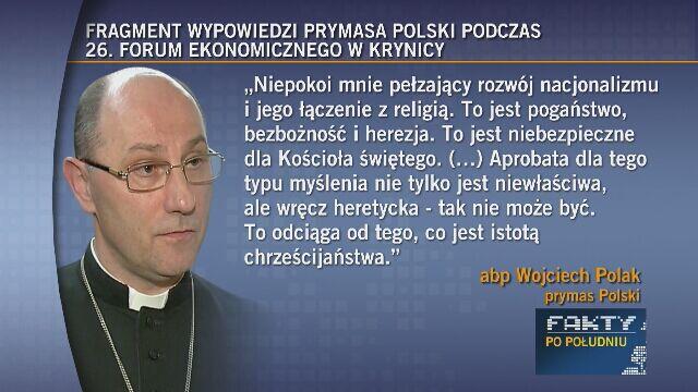"""Prymas Polski zabiera głos ws. nacjonalizmu. """"Nic nowego"""" vs """"bardzo potrzebny głos"""""""