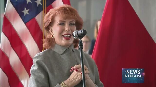 U.S. Ambassador Georgette Mosbacher at the Warsaw Chopin Airport