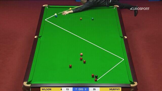 Osiem nieudanych prób wyjścia Wilsona ze snookera w meczu z Murphym - całe zagranie