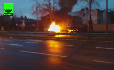 Pożar auta na ul. Łagiewnickiej w Łodzi