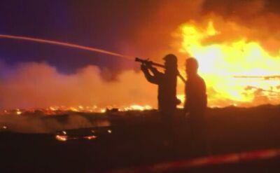 Strażący walczą z pożarem Mostu Łazienkowskiego