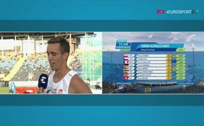 Patryk Dobek po kwalifikacjach do biegu na 400m przez płotki