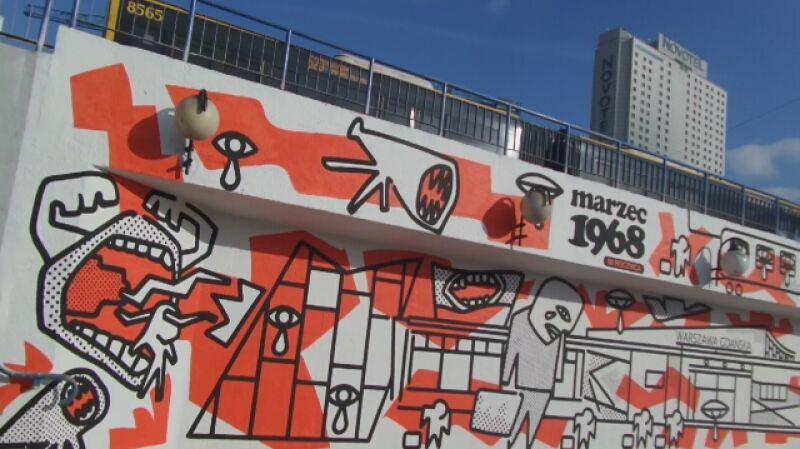 Mural upamiętniający wydarzenia marcowe autorstwa Andrzeja Wieteszki