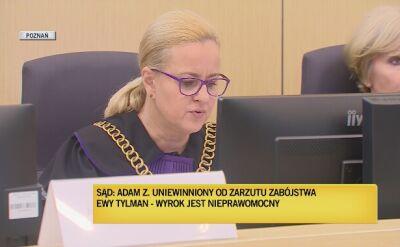 Sędzia Grzybek odczytuje wyrok