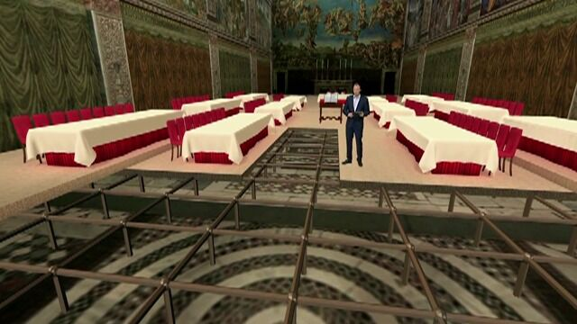 Zasiądą nad posadzką, przy 12 stołach. Kaplica Sykstyńska w 3D
