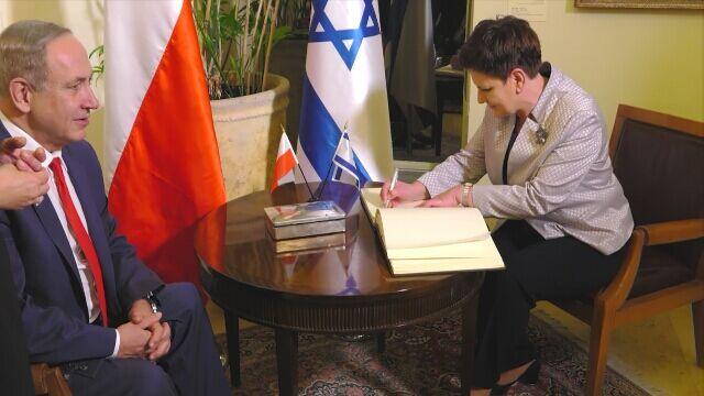 Beata Szydło powitana przez Benjamina Netanjahu