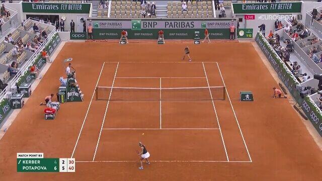 Piłka meczowa dla Anastazji Potapowej z Angelique Kerber