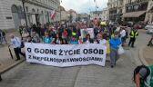 Protest niepełnosprawnych w centrum Warszawy