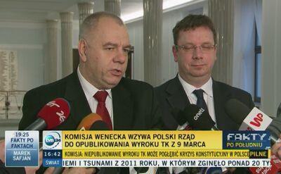 Jacek Sasin po publikacji opinii Komisji Weneckiej