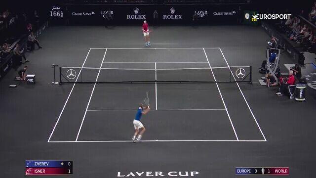 Skrót meczu Isner - Zverev w Pucharze Lavera