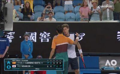 Skrót meczu Carreno-Busta - Nishikori w 4. rundzie Australian Open