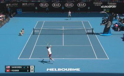 Skrót meczu Federer - Sandgren w 1/4 finału Australian Open