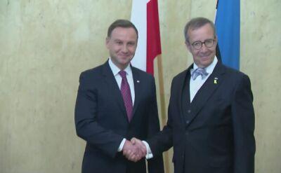Przywitanie prezydentów Estonii i Polski w Tallinie