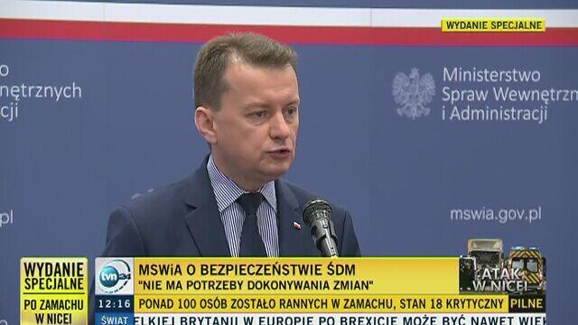 Szef MSWiA: na ŚDM ten sam system dowodzenia służbami, co na szczycie NATO