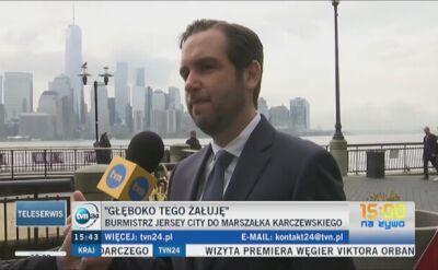 """""""Przyjadę do Polski pod koniec czerwca"""". Burmistrz Jersey City chce spotkać się z marszałkiem Karczewskim"""