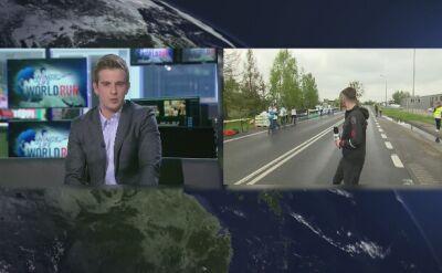 Reporter TVN24 przybijał piątki biegaczom