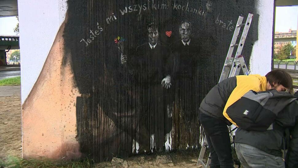 Mural z fragmentami listów miłosnych Iwaszkiewicza. Ktoś zniszczył go dzień przed odsłonięciem
