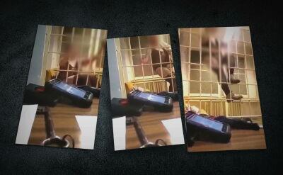 Film, a na nim zatrzymana półnaga kobieta za kratą. Policjanci zawieszeni