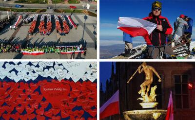 Polskie flagi na Giewoncie i biało-czerwone piramidy. Fantastyczne zdjęcia od widzów TVN
