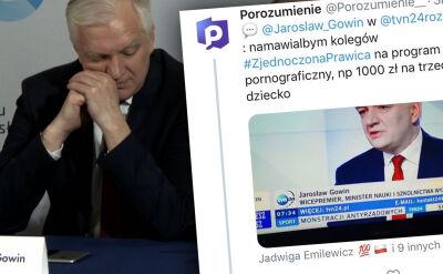 """""""Namawiałbym kolegów na program pornograficzny"""". Wpadka na koncie partii Gowina"""