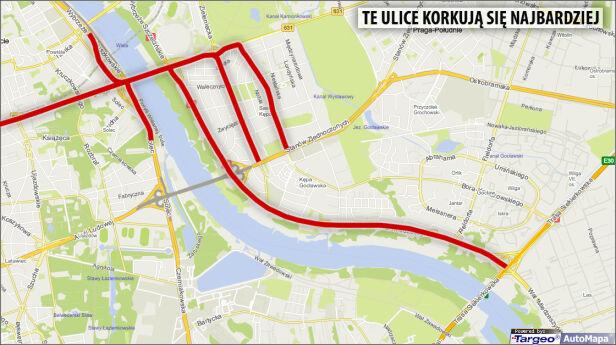 Te ulice korkują się najbardziej Targeo / tvnwarszawa.pl