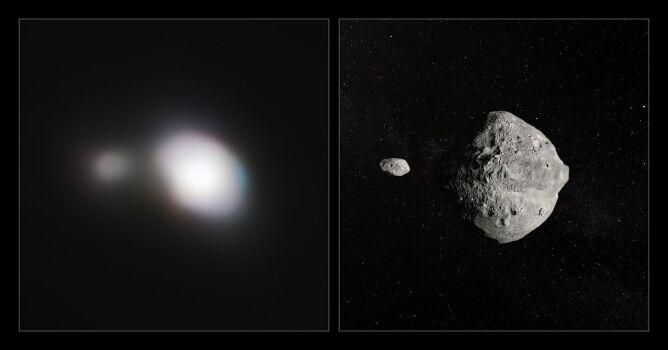 Po lewej zdjęcie planetoidy, po prawej - wizja artystyczna (ESO)