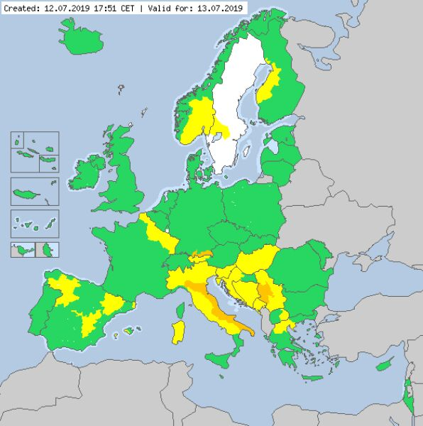 Ostrzeżenia meteorologiczne dla Europy (meteoalarm.eu)