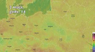 Temperatura w pierwszych dniach majowego weekendu (Ventusky.com | wideo bez dźwięku)